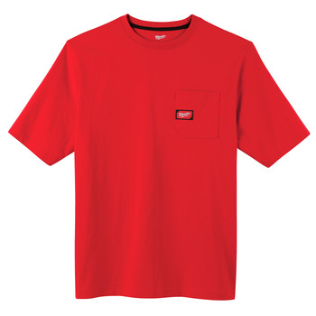 Milwaukee 601R-M Heavy Duty Short Sleeve Pocket Tee Shirt - Red, Medium