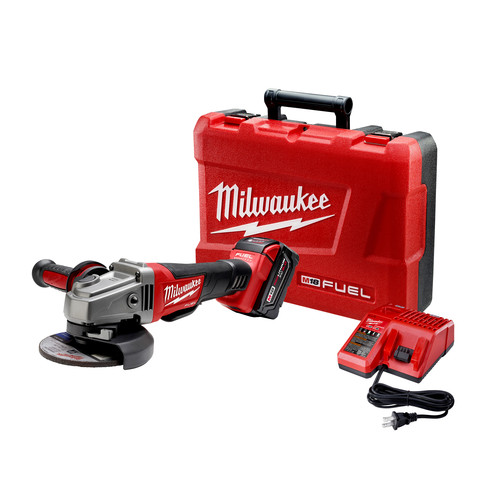 Milwaukee 2780-21 M18 FUEL Brushless Lithium-Ion 4-1/2 in. / 5 in. Cordless Paddle Switch No-Lock Grinder Kit (5 Ah) image number 0
