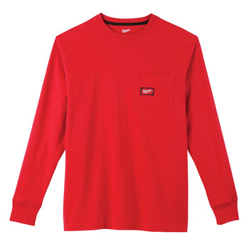 Milwaukee 602R-3X Heavy Duty Long Sleeve Pocket Tee Shirt - Red, 3X