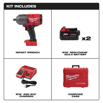 Milwaukee 2766-22 M18 FUEL High Torque 1/2 in. Impact Wrench with Pin Detent (Kit) image number 1