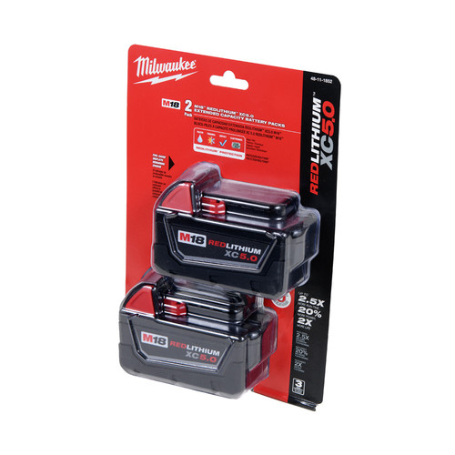 Milwaukee 48-11-1852 M18 REDLITHIUM XC 5 Ah Lithium-Ion Extended Capacity Battery (2-Piece) image number 0