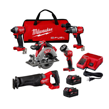 Milwaukee 2998-25 M18 FUEL Brushless Lithium-Ion Cordless 5-Tool Combo Kit (5 Ah)