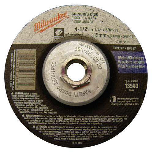 Milwaukee 49-94-4515 4-1/2 in. Type 27 Grinding Wheel image number 0