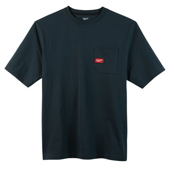 Milwaukee 601BL-M Heavy Duty Short Sleeve Pocket Tee Shirt - Navy Blue, Medium