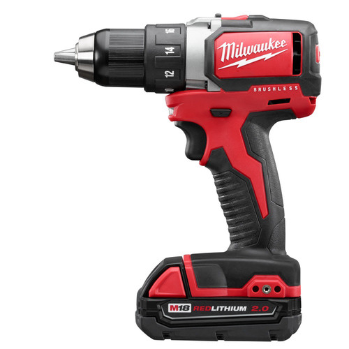Factory Reconditioned Milwaukee 2701-82CT M18 Lithium-Ion Brushless Compact 1/2 in. Cordless Drill Driver Kit (2 Ah) image number 0