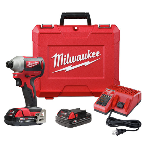 Milwaukee 2850-22CT M18 Compact Brushless 1/4 in. Hex Impact Driver Kit