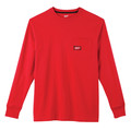 Milwaukee 602R-3X Heavy Duty Long Sleeve Pocket Tee Shirt - Red, 3X image number 0