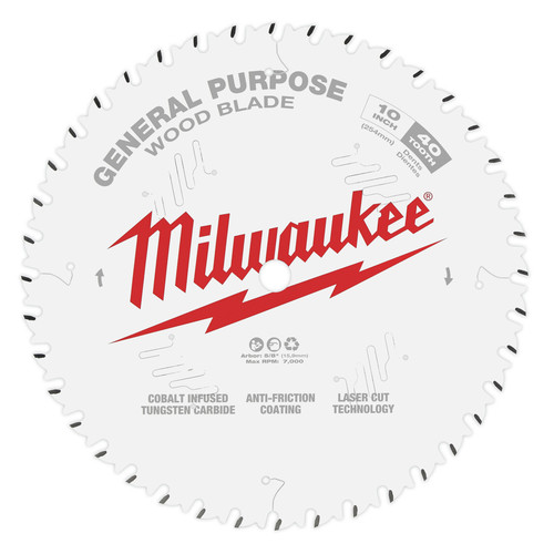 Milwaukee 48-40-1024 10 in. 40T General Purpose Circular Saw Blade image number 0