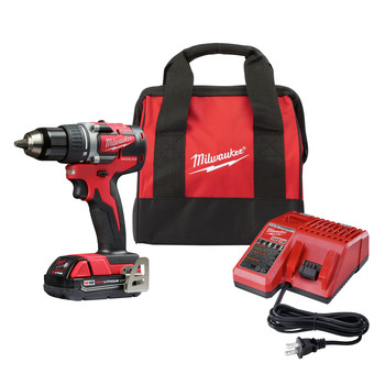Milwaukee 2801-21P M18 Brushless Lithium-Ion Compact 1/2 in. Cordless Drill Driver Kit (2 Ah)
