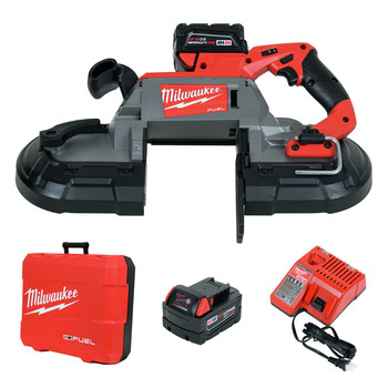 Milwaukee 2729-22 M18 FUEL Cordless Lithium-Ion Deep Cut Band Saw with 2 XC 5.0 Ah Batteries image number 0