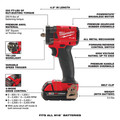 Milwaukee 2854-22CT M18 FUEL Lithium-Ion Brushless Compact 3/8 in. Cordless Impact Wrench Kit with Friction Ring (2 Ah) image number 3