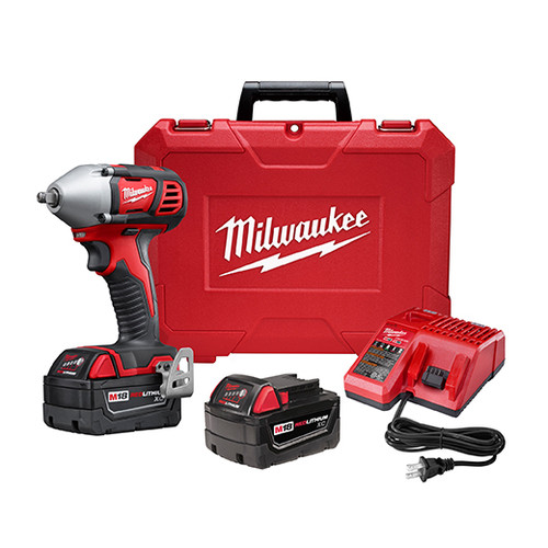 Factory Reconditioned Milwaukee 2658-82 M18 18V Cordless Lithium-Ion 3/8 in. Impact Wrench Kit with Friction Ring