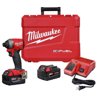 Milwaukee 2853-22 M18 FUEL Compact Lithium-Ion 1/4 in. Cordless Hex Impact Driver Kit (5 Ah)