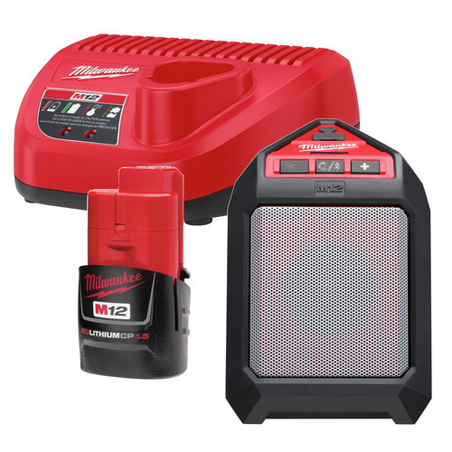 Milwaukee 2592 21 M12 12V Wireless Jobsite Speaker Kit With Battery And Charger
