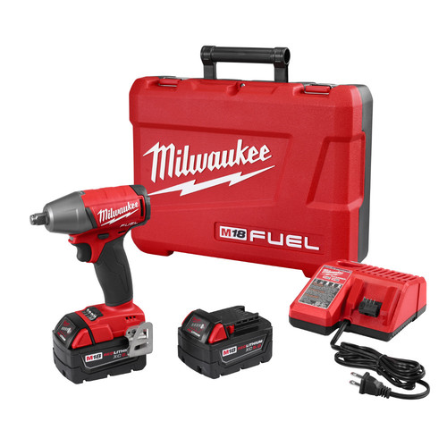 Milwaukee 2755B-22 M18 FUEL 5.0 Ah Cordless Lithium-Ion 1/2 in. Compact Impact Wrench with Friction Ring Kit