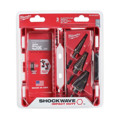 Milwaukee 48-89-9257 SHOCKWAVE Impact Duty Step Bit Electrician Set (#1, #4, #9) image number 0