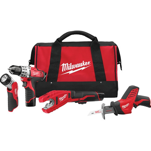 Factory Reconditioned Milwaukee 2499-84 M12 12V Cordless Lithium-Ion 4-Tool Combo Kit