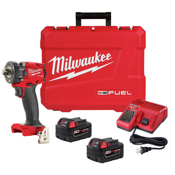 Milwaukee 2855-22 M18 FUEL Lithium-Ion Brushless Compact 1/2 in. Cordless Impact Wrench Kit with Friction Ring (5 Ah)