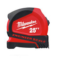 Milwaukee 48-22-6625E 25 ft. Compact Tape Measure with Engineer Scale image number 0