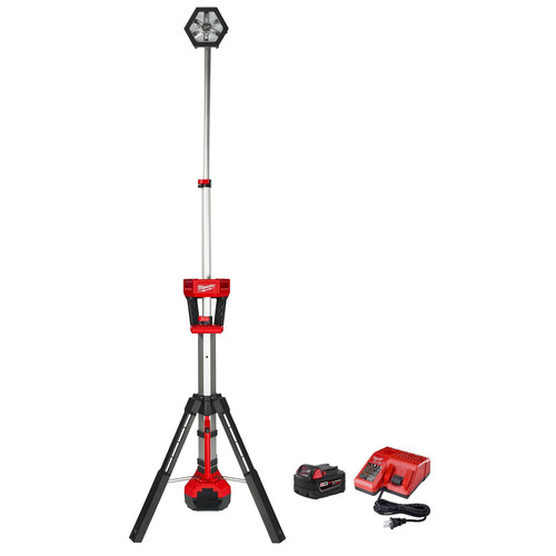 Milwaukee 2130-20P M18 18V 5.0 Ah Cordless Lithium-Ion TRUEVIEW Rocket LED Tower Stand Light Kit with FREE 18V 5.0 Ah Starter Kit