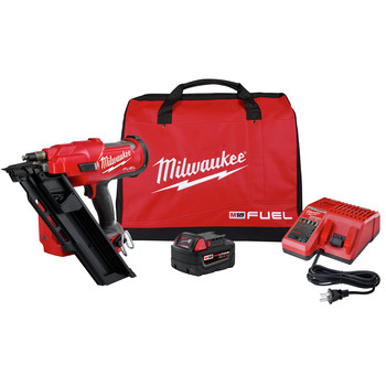 Milwaukee 2745-21 M18 FUEL 30-Degree Cordless Framing Nailer Kit (5 Ah)