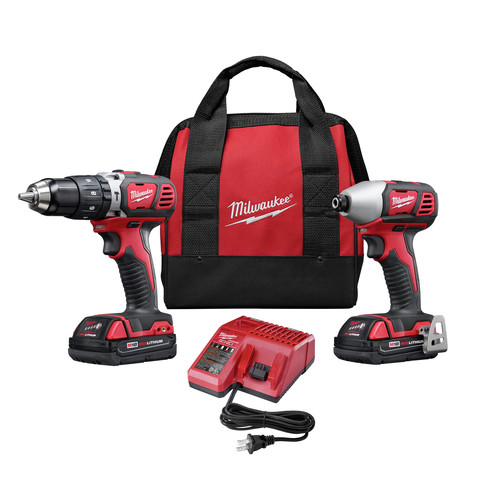 Milwaukee 2697-22CT M18 Lithium-Ion 1/2 in. Compact Hammer Drill and Impact Driver Combo Kit
