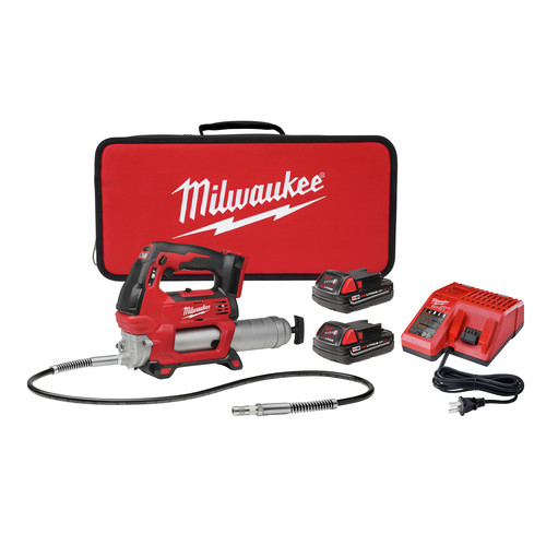 Milwaukee 2646-22CT M18 18V Cordless Lithium-Ion 2-Speed Grease Gun with 2 Batteries image number 0