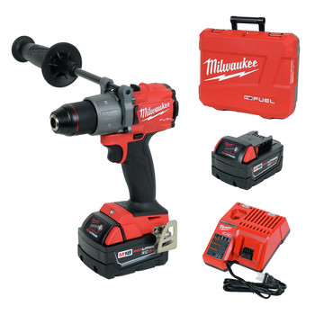 Milwaukee 2804-22 M18 FUEL Lithium-Ion 1/2 in. Cordless Hammer Drill Kit (5 Ah)