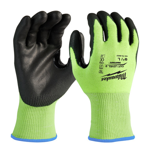 Milwaukee 48-73-8922B 12-Piece Cut Level 2 High Visibility Polyurethane Dipped Gloves - Large image number 0