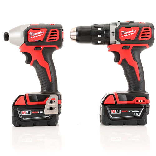 Milwaukee 2697-22 M18 Lithium-Ion 1/2 in. Hammer Drill and Impact Driver  High Performance Combo Kit