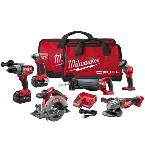Factory Reconditioned Milwaukee 2796-86 M18 FUEL 18V Cordless Lithium-Ion 6-Tool Combo Kit