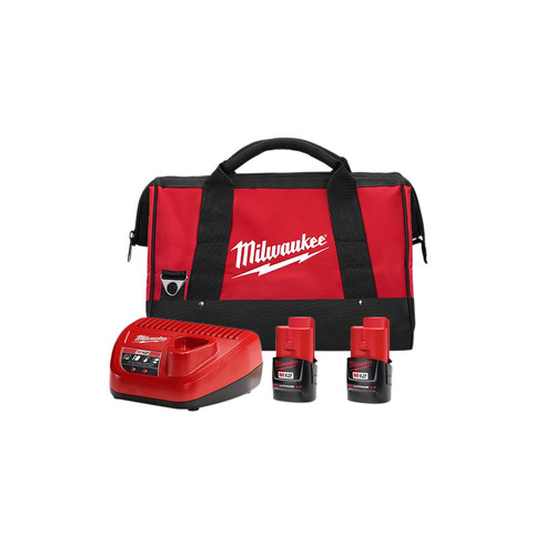 Milwaukee 48-59-2422P M12 REDLITHIUM CP 2 Ah Lithium-Ion Battery (2-Piece), Charger, & Bag Kit