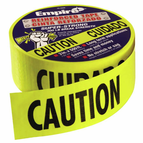 "Empire 76-0600 500 ft. x 3 in. ""Caution - Cuidado"" Reinforced Construction Grade Barricade Tape (Yellow)"