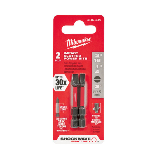 Milwaukee 48-32-4920 SHOCKWAVE Impact Duty 2 in. Slotted #8/#10 Power Bit (2-Pack)
