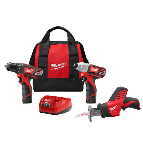 Factory Reconditioned Milwaukee 2498-83 M12 Cordless Lithium-Ion 3-Tool Combo Kit image number 0