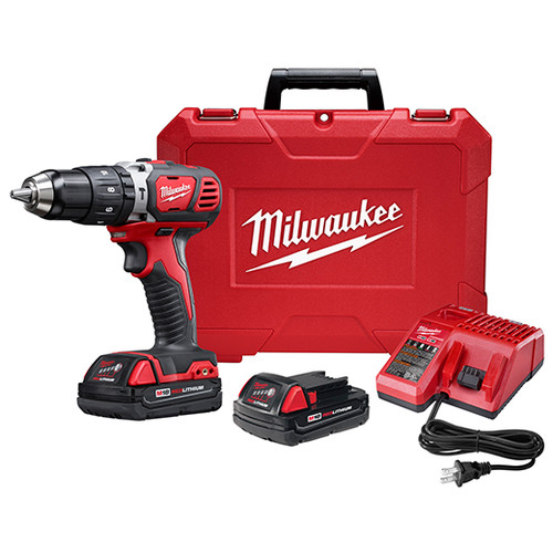Factory Reconditioned Milwaukee 2607-82CT M18 18V Cordless Lithium-Ion 1/2 in. Hammer Drill Driver Kit