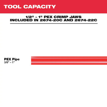 Milwaukee 2674-22C M18 Short Throw Press Tool Kit with PEX Crimp Jaws image number 5