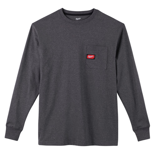 Milwaukee 602G-S Heavy Duty Long Sleeve Pocket Tee Shirt - Gray, Small image number 0
