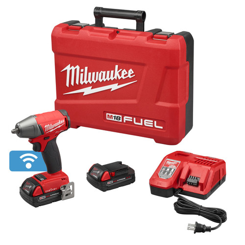 Milwaukee 2758-22CT M18 FUEL 2.0 Ah Cordless Lithium-Ion 3/8 in. Compact Impact Wrench Kit with Friction Ring & ONE-KEY Connectivity