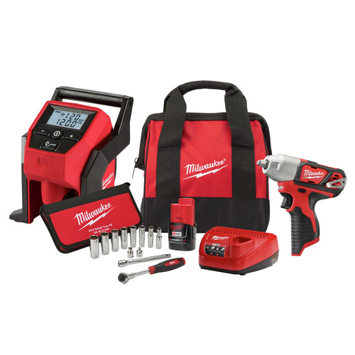 Milwaukee 2463-21RS M12 Lithium-Ion 3/8 in. Cordless Impact Wrench with M12 Inflator and 12-Piece 3/8 in. Metric Socket Set image number 0