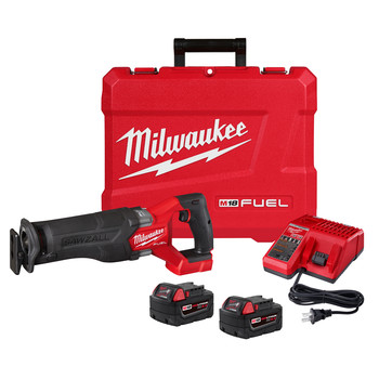 Milwaukee 2821-22 M18 FUEL Brushless Lithium-Ion SAWZALL 1-1/4 in. Cordless Reciprocating Saw Kit with (2) Batteries (5 Ah)