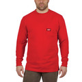 Milwaukee 602R-3X Heavy Duty Long Sleeve Pocket Tee Shirt - Red, 3X image number 1