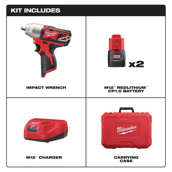 Milwaukee 2463-22 M12 12V Cordless Lithium-Ion 3/8 in. Impact Wrench Kit image number 1