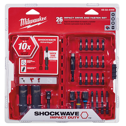 Milwaukee 48-32-4408 SHOCKWAVE Drive and Fasten Bit Set (26 Pc)