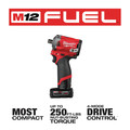 Milwaukee 2555P-22 M12 FUEL Stubby 1/2 in. Impact Wrench  Kit with Pin Detent image number 12