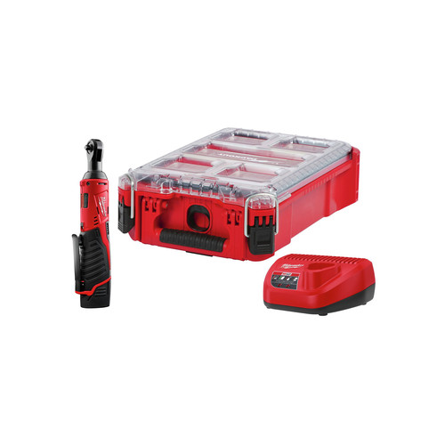 Milwaukee 2456-21PO M12 1/4 in. Ratchet 1 Battery with  PACKOUT Kit