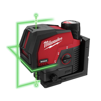 Milwaukee 3622-21 M12 Green Cross Line and Plumb Points Cordless Laser Kit (3 Ah)