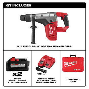 Milwaukee 2717-22HD M18 FUEL 9.0 Ah Cordless Lithium-Ion 1-9/16 in. Rotary Hammer Kit with 2 Batteries image number 4