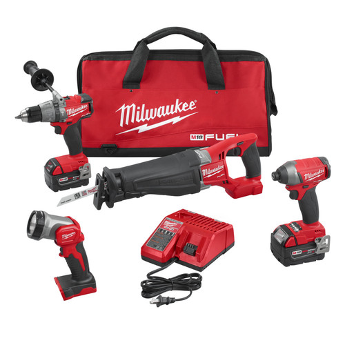 Milwaukee 2896-24 M18 FUEL Cordless Lithium-Ion 4-Tool Combo Kit