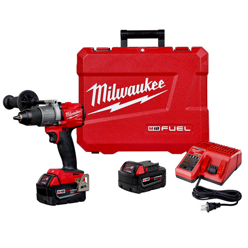 Factory Reconditioned Milwaukee 2804-82 M18 FUEL Lithium-Ion Brushless 1/2 in. Cordless Hammer Drill Kit (5 Ah)